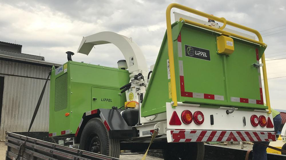 Branch Chipper delivered for municipal cleaning of pruning waste