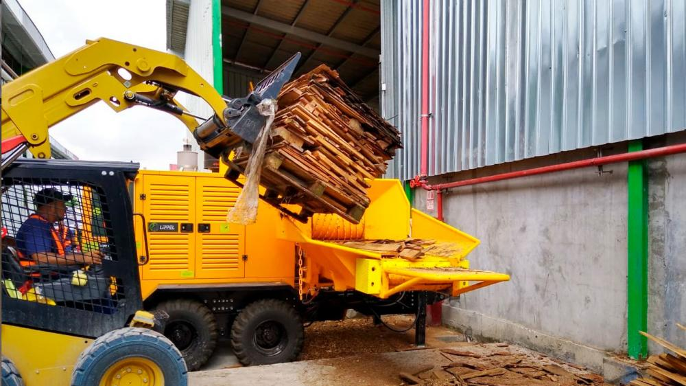 Forestry Chipper in use for wood recycling