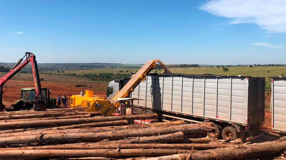 Forestry Chipper delivered for the chipping of whole trees