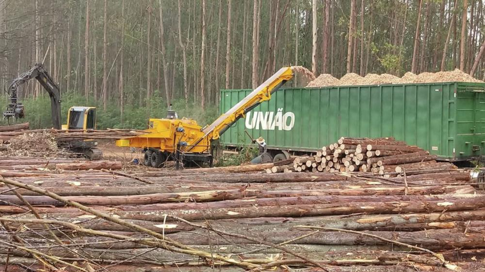 Forestry Chipper of the PFL series in high performance processing of whole trees