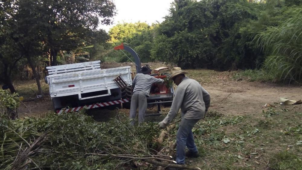 Triturador de Galhos Lippel sendo utilizado na limpeza de condomínio em São Paulo