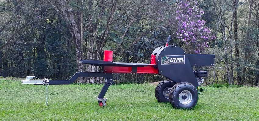 Partidor de leña y troncos a gasolina con sistema de corte rápido que permite partir troncos y leños rápidamente, con seguridad.