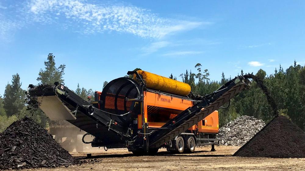 Peneira rotativa de grande capacidade para classificação de resíduos e biomassa