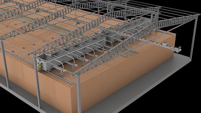 El sistema alimentador automático hace la distribución de los chips de forma uniforme para los hornos de cerámica, permitiendo una quema uniforme.