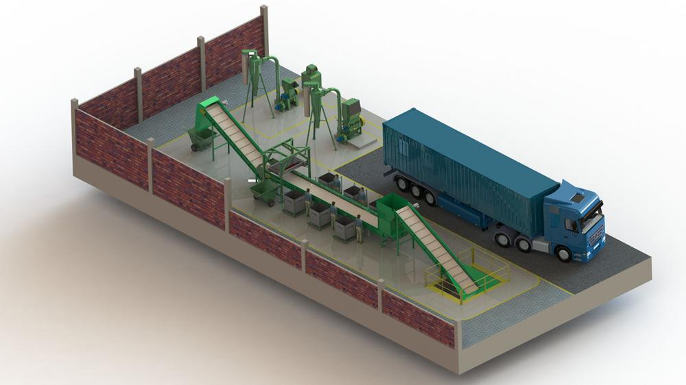 Central de triagem para a separação de resíduos sólidos com a finalidade da reciclagem e descarte ambiental. Projeto desenvolvido de acordo a necessidade de produção e padrões de construção