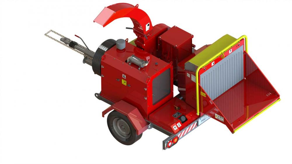 Diesel Engine wood chipper with the engine options from 40 to 55 HP and Rotation