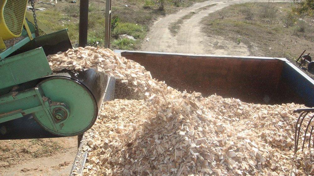 Alta produção de cavacos de madeira