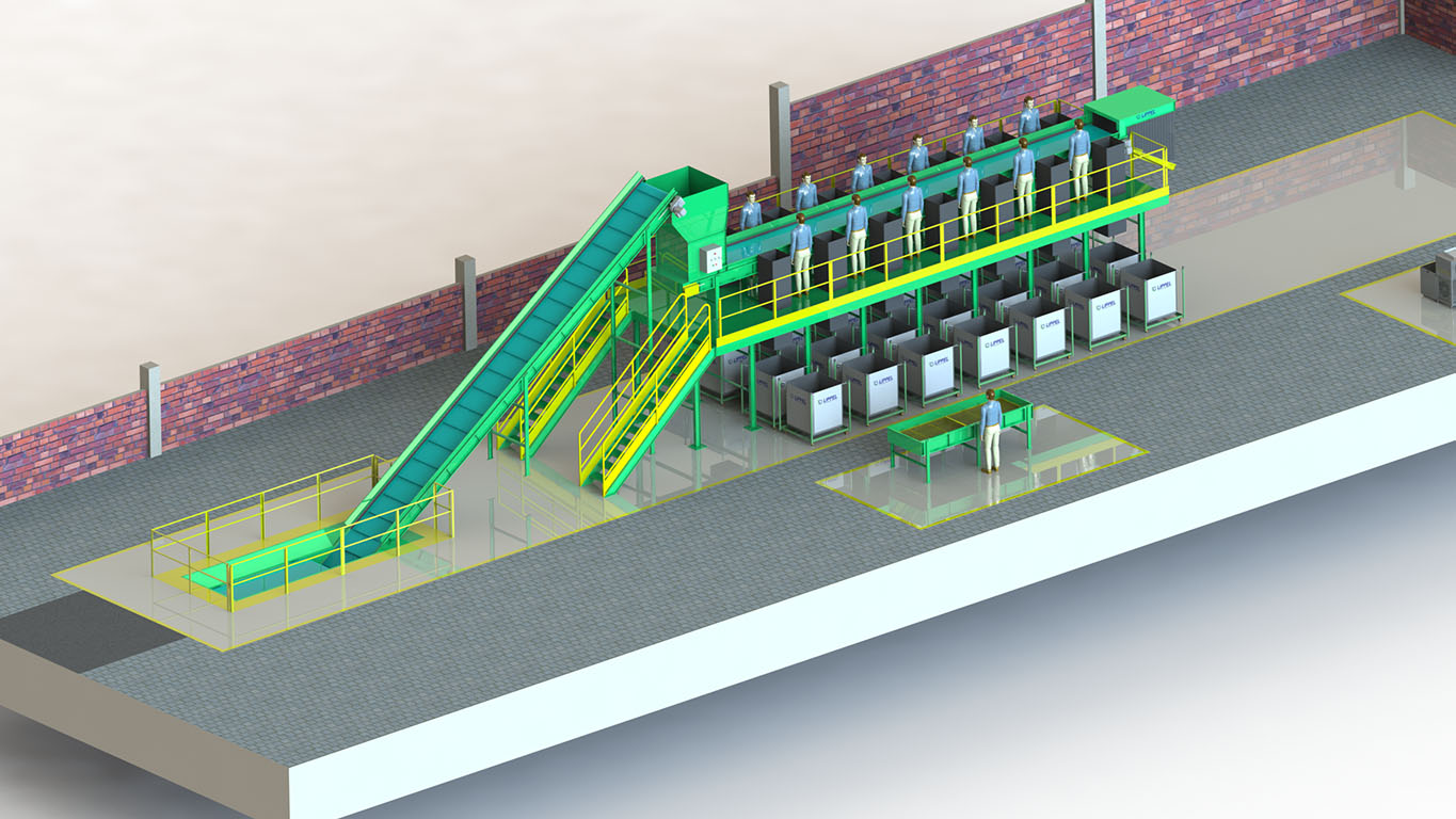 Elevated sorting plant