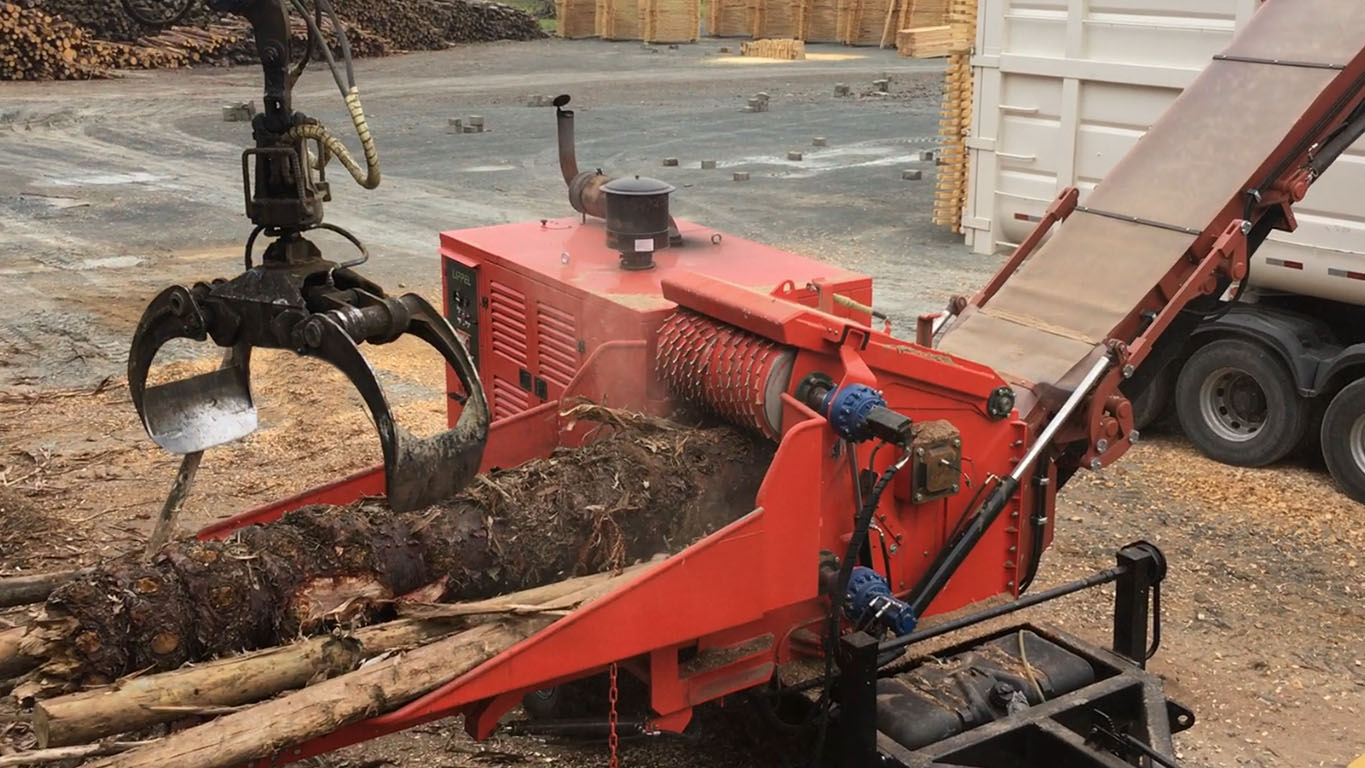 Heavy duty forestry chipper with capacity to great diameter logs