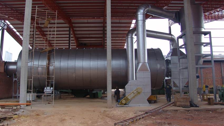 Instalación del secador rotatorio en la planta de pellets