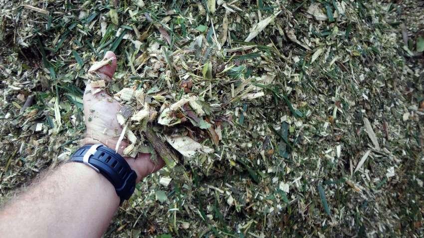 material triturado listo para el compostaje