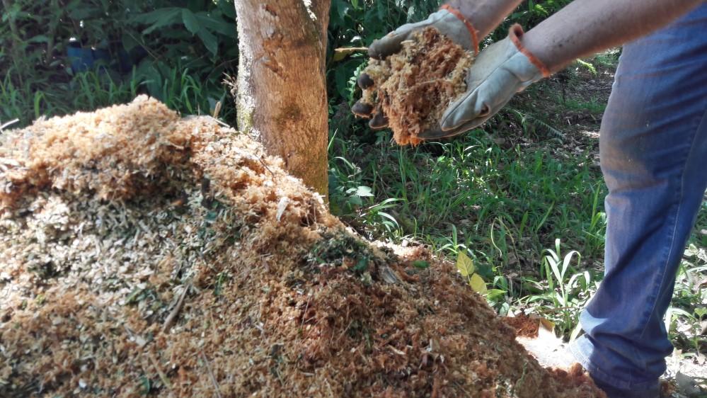 O material triturado gera um excelente composto orgânico, que é um adubo natural rico em minerais e nutrientes.