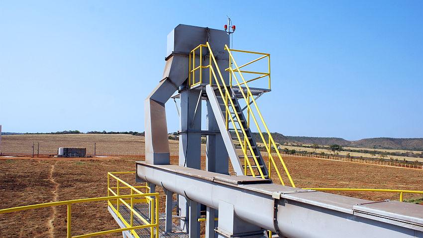 Parte superior do elevador de canecos