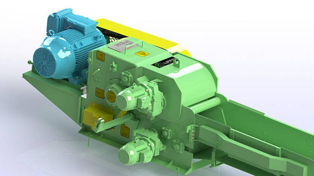 Picador de madeira fixo com rolo tracionador PTL 240 / 320 x 500
