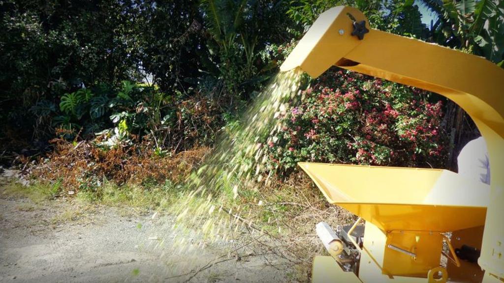 Produzindo cavacos a partir galhos de podas