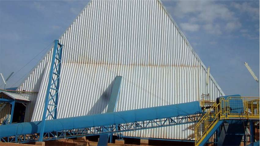 Rear view of the horizontal silo; installed in power plant