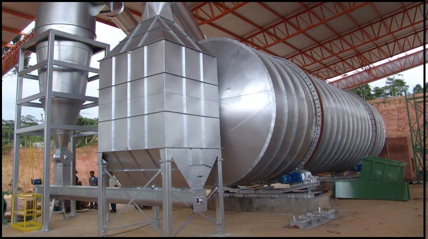 Secador rotativo em planta de usina de pellets