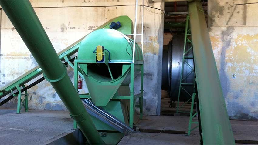 Sieve installed in industry for separating debris