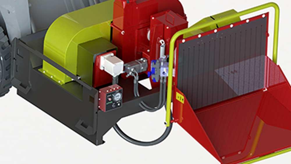 Sistema hidráulico junto con monitor de RPM