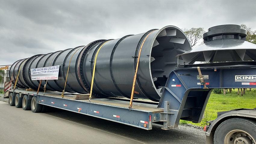 Transporte secador rotatorio