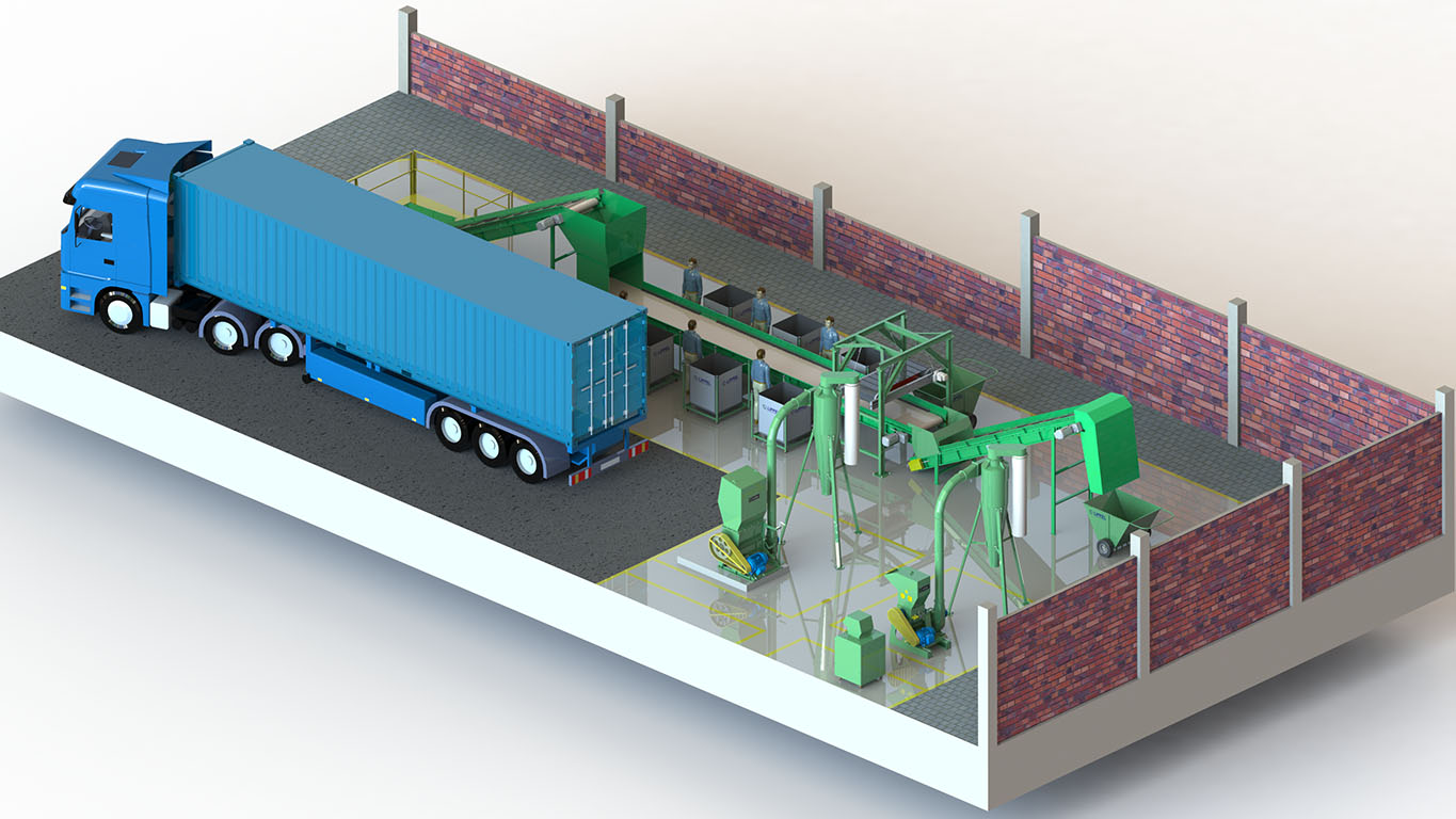 Urban solid waste sorting plant