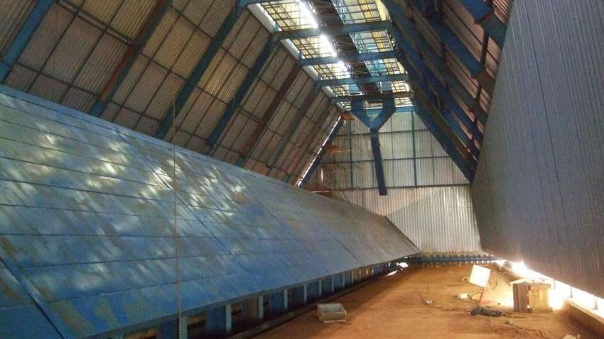 Visão interna do silo horizontal