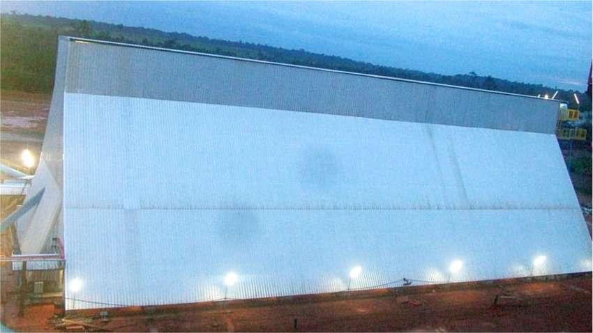 Vista lateral del silo horizontal para la biomasa